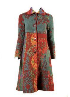Autumn Casual Vintage Printed Basic Outside Coat Blouse Batik, Batik Dress, Bohemian Mode, Bohemian Style, Look Fashion, Womens Fashion, Fashion Design, Fashion Coat, Fashion Dresses