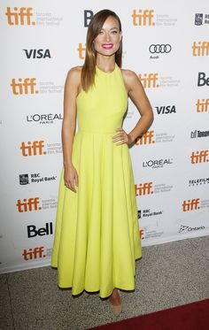 "Olivia Wilde wore a yellow gown from the Spring 2014 collection at the ""Third Person"" Premiere in Toronto, the 10th of September 2013"