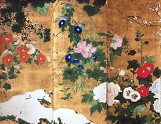 Saitō Ippo: Flowers of the Four Seasons, late 18th–early 19th century, Japan (detail) (left three panels); ink and colors on gold leaf; six-fold screen; 36 3/4 x 95 1/4 in. Description from culturalnews.com. I searched for this on bing.com/images