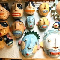 Kim Murton: Lots of work all over - here's a list Toothpick Sculpture, Mexican Mask, Ceramic Mask, Art Costume, Rock Painting Designs, Masks Art, Paperclay, Clay Figures, Clay Projects