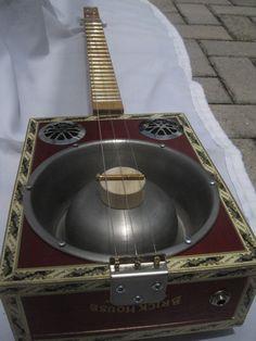 CMR Creations dog bowl resonator cigar box guitar  3 string