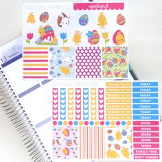 This Easter planner sticker kit is perfect for decorating your Erin Condren Life Planner!  - 64 stickers on 2 sticker sheets - matte and repositionable - sticker size: assorted (fit Erin Condren vertical layout) - sticker sheet size: 6.5 x 4.75  This product contains clip art designed by Prettygrafikdesign on Etsy.  Love and care is put into each and every one of my sticker sheets, but as a handmade product minor imperfections may occur. #affiliate