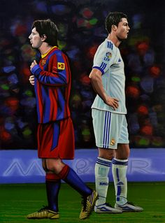 'Lionel Messi and Cristiano Ronaldo painting' by Paul Meijering on artflakes.com as poster or art print $27.72