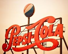 Retro Pepsi Cola Cursive Logo Sign