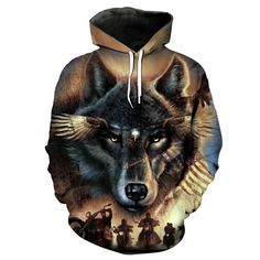 Wolf Hoodie 3D Full Printing //Price: $46.00 & FREE Shipping //     #naruto #shippuden #narutoshippuden #boruto #sarada #mitsuki Funny Wolf, Wolf Hoodie, Cheap Hoodies, Tshirts Online, Hooded Sweatshirts, Hoods, Sportswear, Naruto Shippuden
