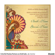 Wedding Designs Colorful Paisley Pattern on Gold Indian Wedding Invitation - Shop Colorful Paisley Pattern on Gold Indian Wedding Invitation created by riverme. Personalize it with photos Peacock Wedding Invitations, Wedding Invitation Background, Indian Wedding Invitation Cards, Hindu Wedding Cards, Wedding Invitation Card Design, Indian Wedding Invitations, Engagement Invitations, Custom Invitations, Engagement Cards