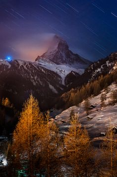 The Matterhorn, Monte Cervino or Mont Cervin, is a mountain in the Pennine Alps on the border between Switzerland and Italy. Its summit is 4...