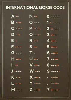 It's good to memorize or have just in case. Once memorized, it's very easily recalled, even if not used frequently.i learnd most of the alphabet in morse over christmas br Survival Prepping, Emergency Preparedness, Survival Skills, Wilderness Survival, Survival Food, Zombies Survival, Zombie Apocalypse Survival, Survival Stuff, Survival Classes