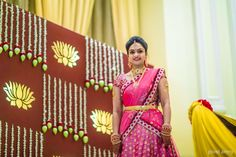 A Colourfully Decked Hall With A Traditional Touch For A Beautiful Engagement! Wedding Stage Decorations, Engagement Decorations, Backdrop Decorations, Flower Decorations, Background Decoration, Marriage Decoration, Wedding Mandap, Wedding Bride, Wedding Prep