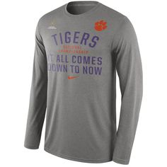 Nike Clemson Tigers Gray 2016 College Football Playoff National Championship Bound Now Long Sleeve T-Shirt - FansEdge.com