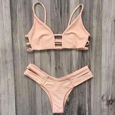 aaf40700ff1 Nude/peach cage bikini top and double strap bottom. Sold separately. Bikini  Bottoms