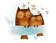 Giclee Art Print - Sleeping Owls - by gorillustrator on Etsy
