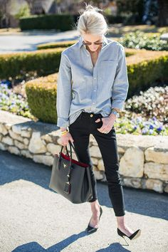 Casual Friday at work? We've got cute outfit ideas for what to wear to the office. Click to see outfits from our favorites bloggers and style stars (like skinny black jeans, an oversized button down, and classic black heels).