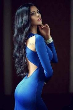 Sexy Dresses, Blue Dresses, Looks Pinterest, New Blue, Sensual, Sexy Body, Belle Photo, Pretty Woman, Hair