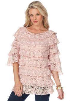 Roamans Women's Plus Size Crochet Tiered Pullover (Amethyst, 2X) at Amazon Women's Clothing store: