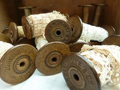 Antique French Lace on Large Wooden Bobbins