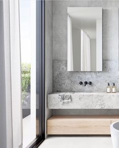 Concrete look bathroom wall tile Laundry In Bathroom, Bathroom Wall, Downstairs Bathroom, Wall Tile, Master Bathroom, Bathroom Design Luxury, Home Interior Design, Minimalist Toilets, Timeless Bathroom