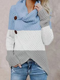 Winter Sweaters, Blue Sweaters, Pullover Sweaters, Sweaters For Women, T Shirts For Women, Sweaters Knitted, Color Blocking Outfits, Long Sleeve Turtleneck, Wrap Sweater