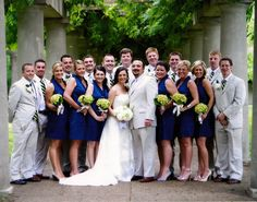 5. Color Theme: 'maids in navy and boys in tan suits with navy and chartreuse ties #modcloth #wedding