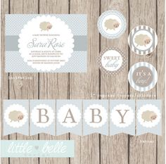 Cute Lamb Baby Shower Printable Party Package by LittleBelleDesign, $27.99