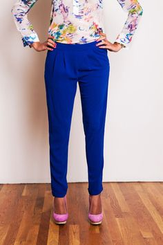 Olivia Royal Blue Pants. Would be super cute with strapy heals