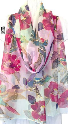 Bird Scarf, Formal Evening Wrap, Bridal Silk Shawl, Handpainted Scarf Hummingbird & Camellia Kimono, takuyo, 22x90 inch,