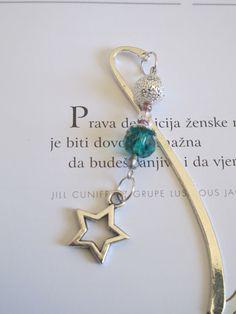 Handmade Beaded Bookmark Silver Star Charm by VitezArtGlassDesign