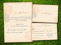 Vintage Flowers Peach Grey Customizable Classic Elegant Wedding Invitation Card - DIY Printable