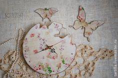 "Часы для дома ручной работы. Ярмарка Мастеров - ручная работа Часы ""Бабочки"". Handmade."