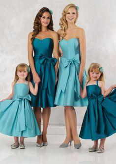 Cute A-line Halter Neckline Taffeta Tea Length Junior Bridesmaid Dresses with Bowknot