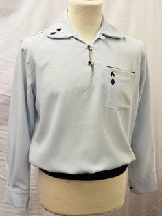 Mens 1950's long sleeve sky blue casual shirt