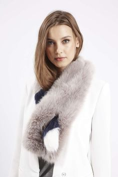 Faux Fur Striped Pull-Through Stole - Scarves - Bags & Accessories - Topshop USA