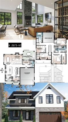 4 bedroom Farmhouse home design, large kitchen with pantry, 2-car garage, lots of natural lights