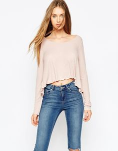 ASOS Swing Top In Slouchy Rib With Scoop Neck