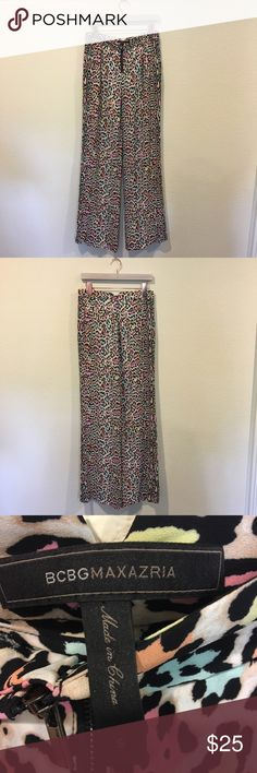 BCBG Maxazria rainbow leopard print wide leg pants Great, colorful pants! From the Fashion and Frills blog blog. No trades. BCBGMaxAzria Pants Trousers