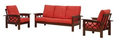 Simple 3 Red Sofa Design with Wooden Frame for Living Room