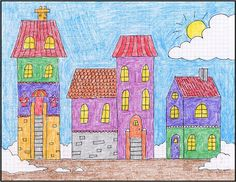 Art Projects for Kids: Draw a Winter Town Tutorial - use graph paper Drawing Lessons, Art Sub Lessons, Drawing Projects, Drawing Tutorials, Art Drawings For Kids, Drawing For Kids, Art For Kids, Winter Art Projects, Projects For Kids