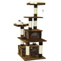 Cheap Large Cat Tree House Climbing Tower in Plush Brown sale