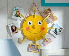 The best DIY projects & DIY ideas and tutorials: sewing, paper craft, DIY. Diy Crafts Ideas DIY Sunshine Photo Holder - Display your favorite vacation memories with this cheery sunshine photo holder. Kids Crafts, Sun Crafts, Summer Crafts For Kids, Craft Stick Crafts, Diy For Kids, Diy And Crafts, Craft Projects, Arts And Crafts, Plate Crafts