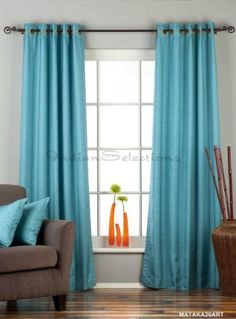 "Turquoise Ring Top Matka Raw Silk Curtain / Drape - 84"" - Piece by Indian Selections, http://www.amazon.com/dp/B0081BIY7G/ref=cm_sw_r_pi_dp_GM2Xqb1PRZRNK"