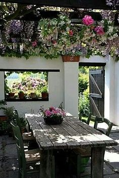wisteria covered pergola,reclaimed wood table and the window carved into the wall. Outdoor Areas, Outdoor Rooms, Outdoor Dining, Outdoor Tables, Outdoor Seating, Picnic Tables, Rustic Outdoor, Outdoor Parties, Dream Garden