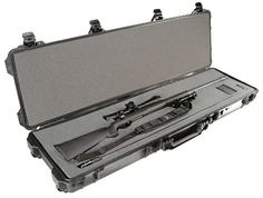 Pelican Products 1750 Gun Case with Foam for Rifle, Black. The Pelican 1750 Gun Case with Foam for your rifle is a waterproof, crushproof, and dustproof case. It comes with a three piece customizable foam set to keep your valuables firmly in place. This strong, lightweight case is waterproof, coming with an O-ring seal and automatic pressure equalization valve to make it easy to open.
