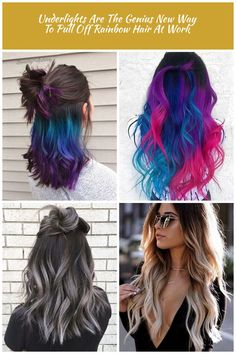 Green blue purple ombre under later hair dye hair dye Underlights Are The Genius New Way To Pull Off Rainbow Hair At Work Dye Hair, Purple Ombre, Rainbow Hair, Latest Hairstyles, Blue Green, Long Hair Styles, Baking, Easy, Vopsea De Par