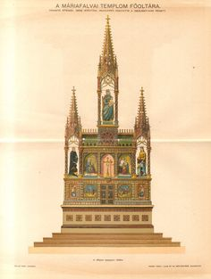 1893 Zsolnay Maiolica Altarpiece Original Antique Lithograph