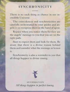 There is no such thing as chance in our incredible Universe. The coincidences and synchronicities are carefully orchestrated by your guides. Synchronicity is also a reminder to you that all things happen in divine timing. Meditation Musik, Zen Meditation, Mantra, Motto, Divine Timing, Perfect Timing, Gods Timing, A Course In Miracles, Angel Cards