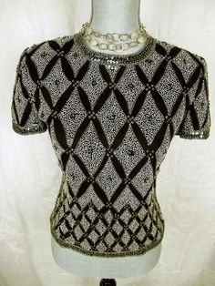 Papell Boutique Evening Top Black Silver Silk Sequins Shirt Formal Blouse S #formal#style#papellboutique#top#fashion#trend#deal