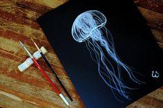 Eva Shorey: Translucent Jellyfish - white gouache on black paper illustration.