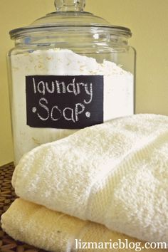 "DIY Laundry Soap.   Can make this as a liquid version too: melt the ""food processed"" soap in 6 cups of water on low heat. Then add the borax and washing soda and 18 cups of water. Stir to dissolve.  Someone said: I have noticed that using more than one and a half tablespoons (if making the soapy/powder version) will leave a residue in the HE front loader, so I add WHITE DISTILLED VINEGAR as the fabric softener."