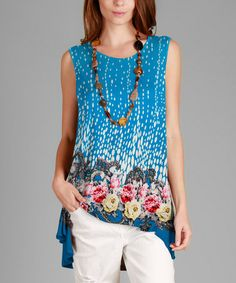 Loving this Blue Floral Hi-Low Tunic - Plus on #zulily! #zulilyfinds