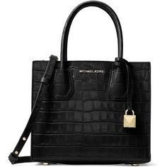 MICHAEL MICHAEL KORS Textured Leather Messenger Bag ($258) ❤ liked on Polyvore featuring bags, messenger bags, michael michael kors, courier bag, alligator bag and michael michael kors bags